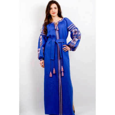 "Boho Style Ukrainian Embroidered Maxi Broad Dress Blue ""Flower Fantasy"""