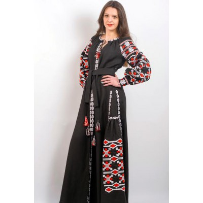 "Boho Style Ukrainian Embroidered Maxi Broad Dress Black ""Grace"""