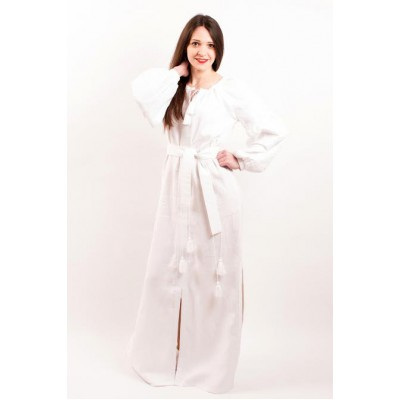 "Boho Style Ukrainian Embroidered Maxi Broad Dress White on White ""Flower Fantasy"""