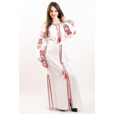 "Boho Style Ukrainian Embroidered Maxi Broad Dress Red on White ""Flower Fantasy"""