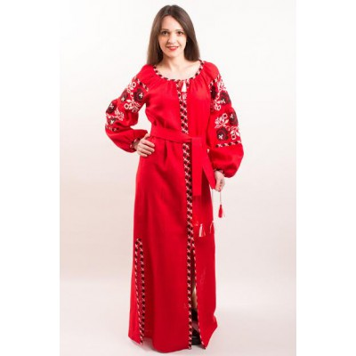 "Boho Style Ukrainian Embroidered Dress ""Charm 3"" black on red"