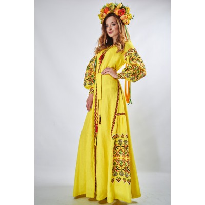 "Embroidered Boho Maxi Dress ""Fortune"" Yellow"