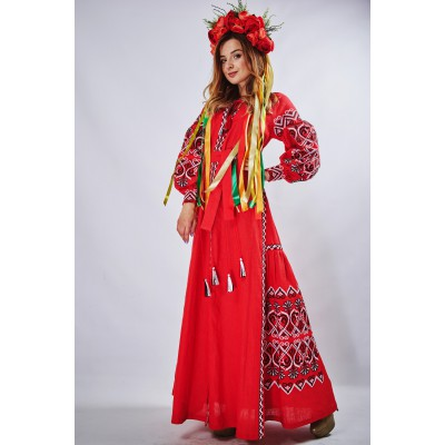 "Embroidered Boho Maxi Dress ""Fortune"" Red"