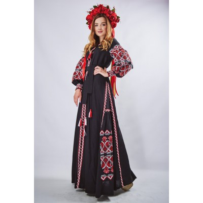 "Embroidered Boho Maxi Dress ""Fortune"" Black"
