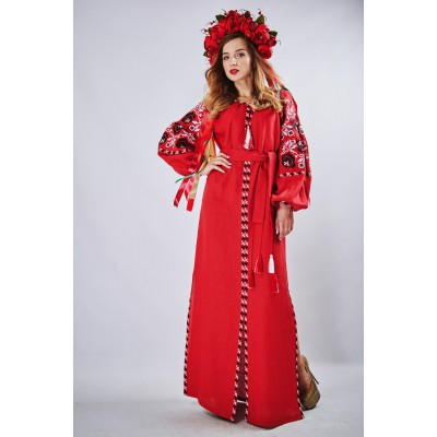 "Embroidered Boho Maxi Dress ""Charm 3"" Red"