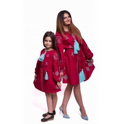 """Embroidered Complect Mother and Daughter """"Adriana"""" crimson"""
