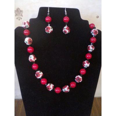 """Jewellery set """"Ukrainian #8"""" necklace+earrings"""