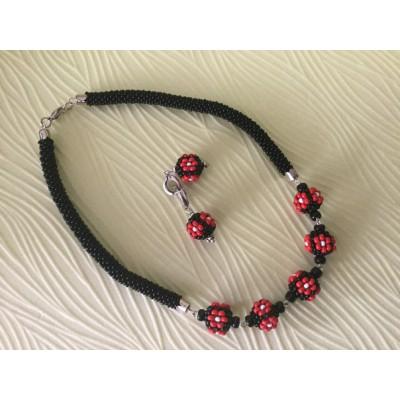 """Jewellery set """"Ukrainian #1"""" necklace+earrings"""