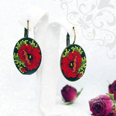 """Earrings """"Black Poppies"""""""