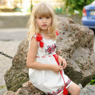 """Embroidered dress for baby girl """"Sarafan July"""""""