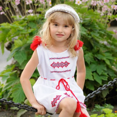 """Embroidered dress for baby girl """"Sarafan August"""""""