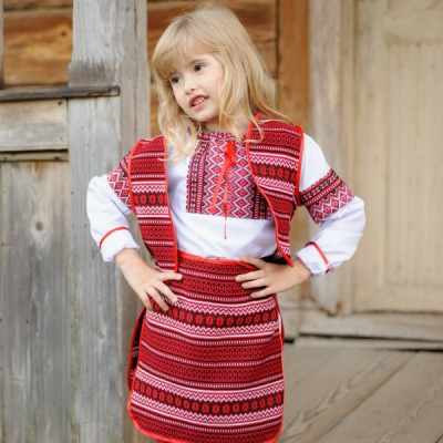 """Embroidered costume """"Gutsul Girl in Red New"""""""