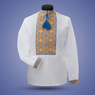"Embroidered shirt ""Classic"" yellow&blue"