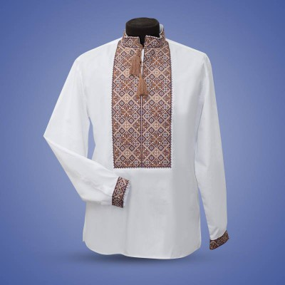 "Embroidered shirt ""Classic"" brown"