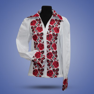 "Embroidered blouse ""Roses with collar"""