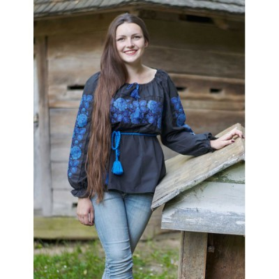 "Embroidered blouse ""Fantasy Blue on Black"""