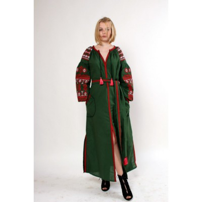 "Boho Style Ukrainian Embroidered Maxi Dress ""Zlata Red-on-Green"""