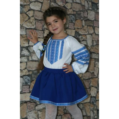 "Embroidered costume for girl ""Blue Story"""