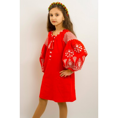 "Embroidered costume for girl ""Luxury"" red"