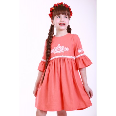 "Embroidered dress for girl ""Child's Dream"" Peach"
