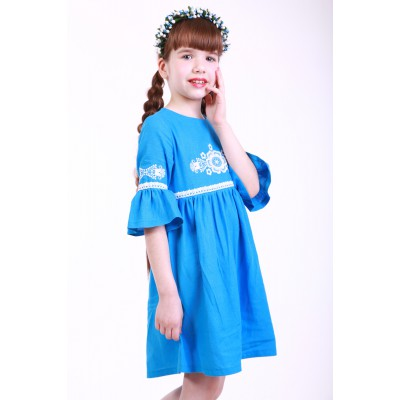 "Embroidered dress for girl ""Child's Dream"" Turquoise"