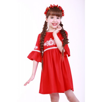 "Embroidered dress for girl ""Child's Dream"" Red"