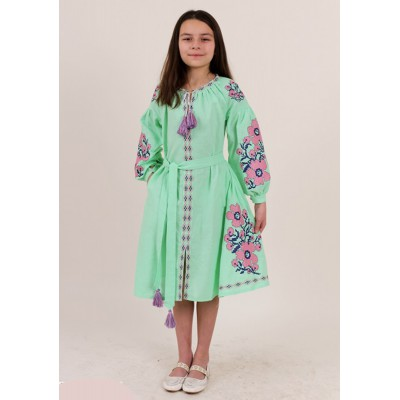 "Embroidered dress for girl ""Floral Prague"" mint green"
