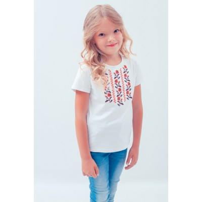 "Embroidered tee-shirt for girl ""Journey of Blue Rose"""