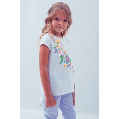 "Embroidered tee-shirt for girl ""Spring in Violet"""