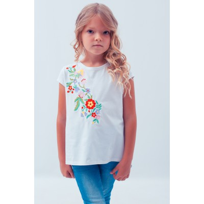 "Embroidered tee-shirt for girl ""Spring in Red"""