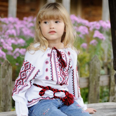 """Embroidered blouse for little girl """"Awesome Childhood"""""""