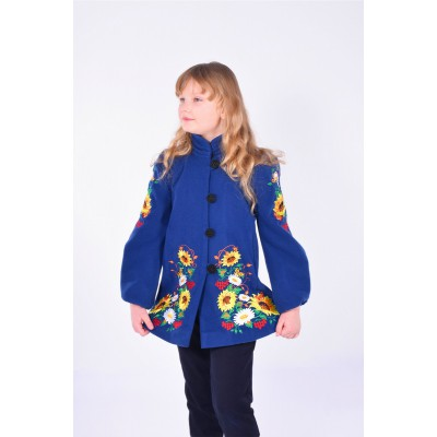 "Embroidered coat for girl ""Butterfly"" dark blue"
