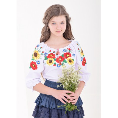 """Embroidered blouse for little girl """"Panna: Golden"""""""