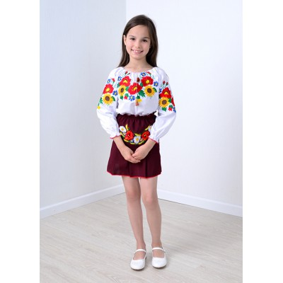 """Embroidered blouse for little girl """"Panna: August Colours"""""""