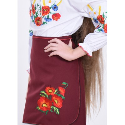 """Embroidered skirt (plakhta) for little girl """"Panna: Dream"""" mauve"""