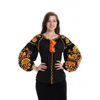 """Boho Style Ukrainian Embroidered Folk  Blouse """"Life Tree"""" orange on black"""