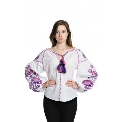 """Boho Style Ukrainian Embroidered Blouse """"Tree of Life"""" purple on white"""