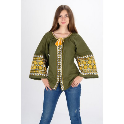 """Boho Style Ukrainian Embroidered Blouse """"Carpathian Flower"""" yellow on olive"""