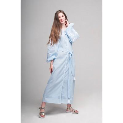 "Boho Style Ukrainian Embroidered Dress ""Flower"" white"