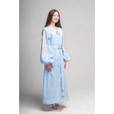 "Boho Style Ukrainian Embroidered Dress ""Flower"" pink"