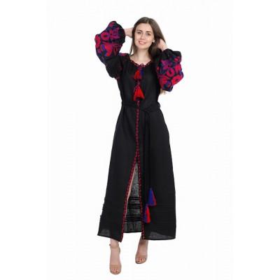 """Boho Style Ukrainian Embroidered Dress """"Boho Birds"""" red on black"""