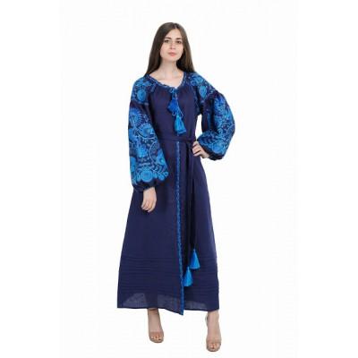 "Boho Style Ukrainian Embroidered Dress ""Life Tree"" blue on navy"