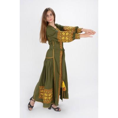"""Boho Style Ukrainian Embroidered Dress """"Carpathian Flower"""" yellow on olive"""