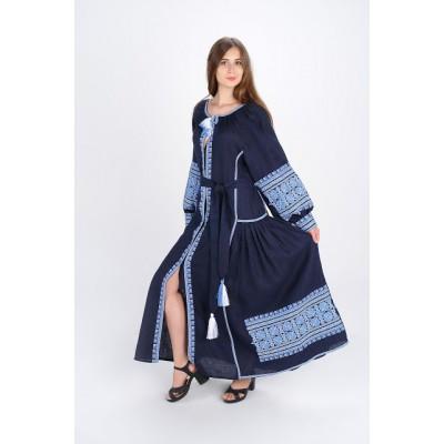 "Boho Style Ukrainian Embroidered Dress ""Carpathian Flower"" blue on navy"
