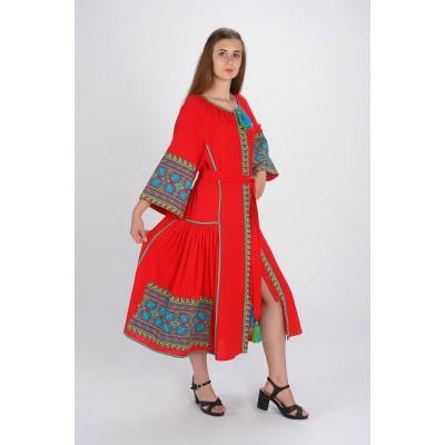 "Boho Style Ukrainian Embroidered Dress ""Carpathian Flower"" blue on red"