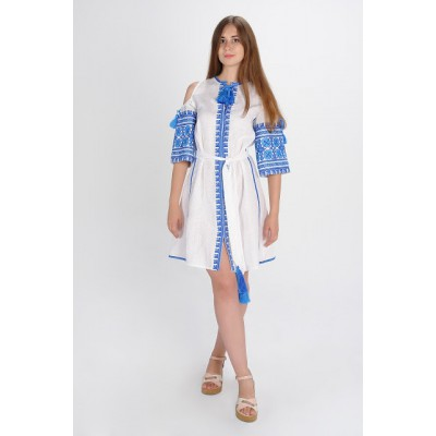 "Boho Style Ukrainian Embroidered Dress ""Carpathian Flower Summer"" blue on white"