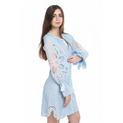 "Boho Style Ukrainian Embroidered Dress ""Richelieu"" gentle blue"