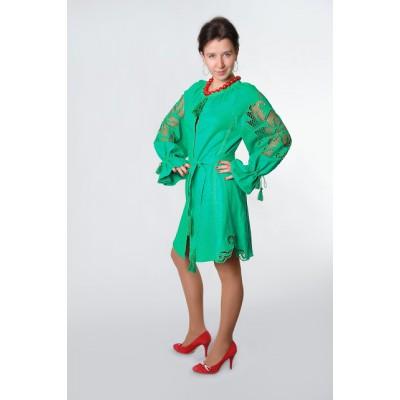 "Boho Style Ukrainian Embroidered Dress ""Richelieu"" green"