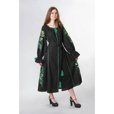 "Boho Style Ukrainian Embroidered Dress ""Richelieu"" maxi green on black"