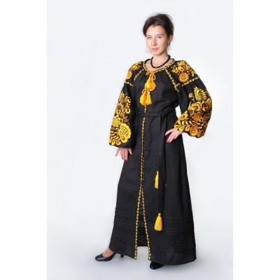 """Boho Style Ukrainian Embroidered Dress """"Life Tree"""" orange on black"""